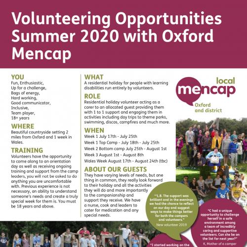 Volunteer dates 2020 released